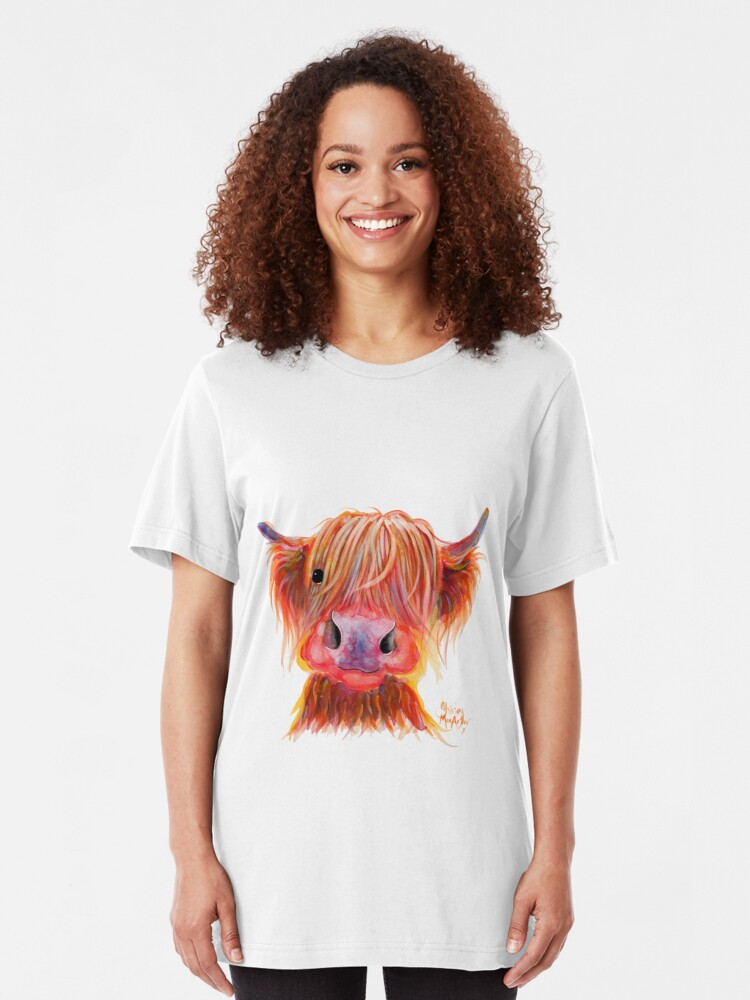 Alternate view of Scottish Highland Hairy Cow ' CHILLI CHOPS ' by Shirley MacArthur Slim Fit T-Shirt