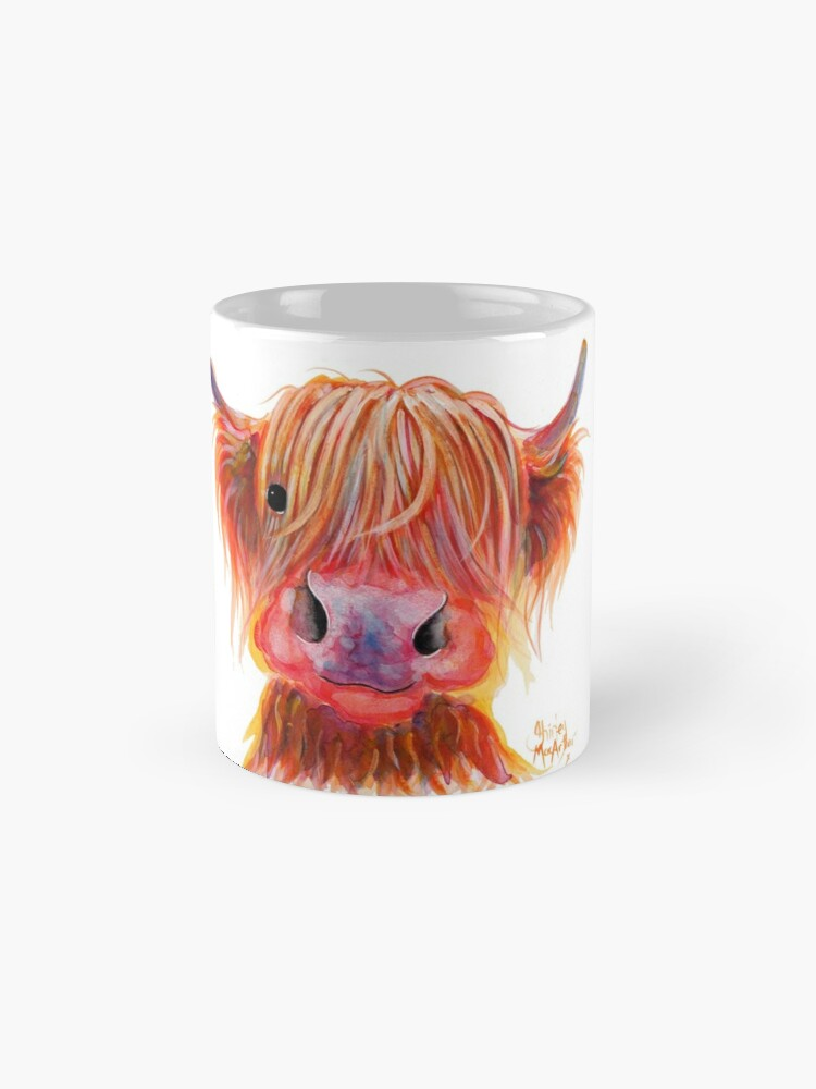 Alternate view of Scottish Highland Hairy Cow ' CHILLI CHOPS ' by Shirley MacArthur Mug