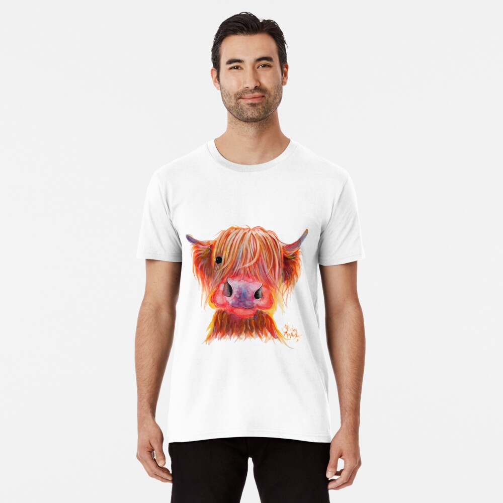 Scottish Highland Hairy Cow ' CHILLI CHOPS ' by Shirley MacArthur Premium T-Shirt