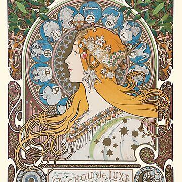 HD. Zodiac (First version), by Alphonse Mucha (1896) HIGH DEFINITION  by mindthecherry