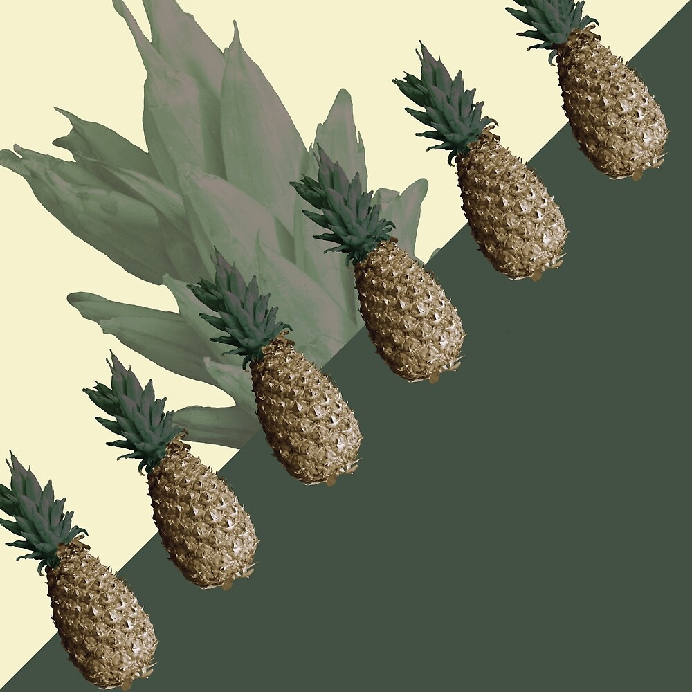 Pineapples All Lined Up (green) by Upthewall-se