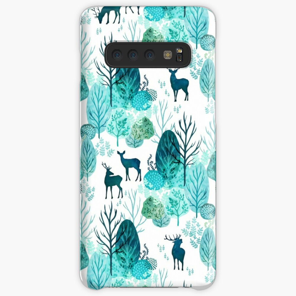 Emerald forest deer on white Case & Skin for Samsung Galaxy