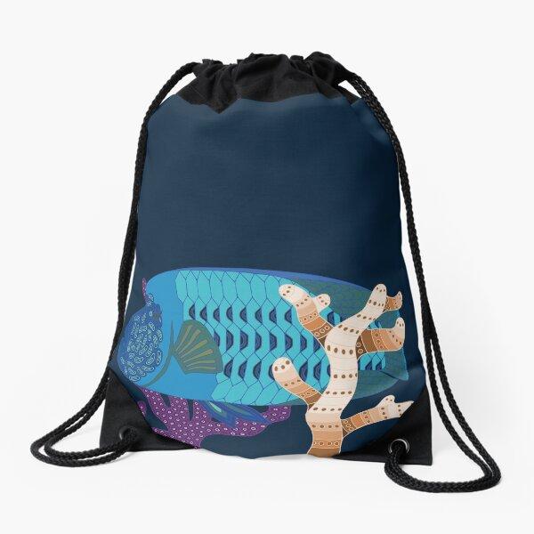 Fish Wrasse Genuine Aboriginal Art 4 Drawstring Bag
