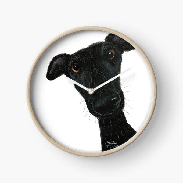 Whippet Greyhound Dog PRiNT 'Hank' by Shirley MacArthur Clock