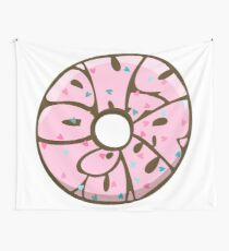 Donut lover. Hand drawn lettering in donut shape. 60th style Wall Tapestry
