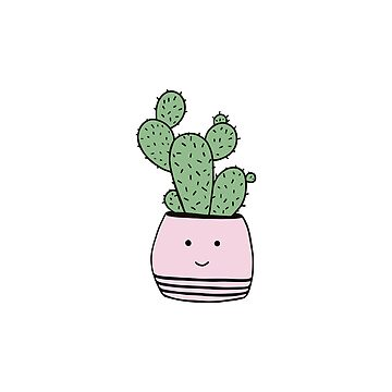 Happy cactus in pink flowerpot by bigmoments
