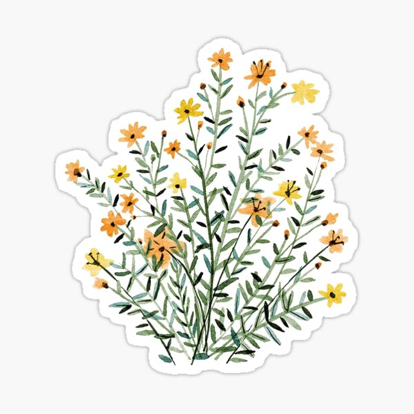 yellow floral sun flower Sticker