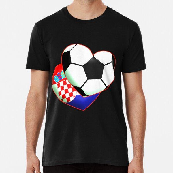 Fußballherz Kroatien Premium T-Shirt