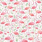 Pink flamingos and florals!  by Elena  O'Neill