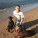 29. Alan with Dobermans & Border Terrior: Mischa, Jazz & Poppy by Cathie Brooker