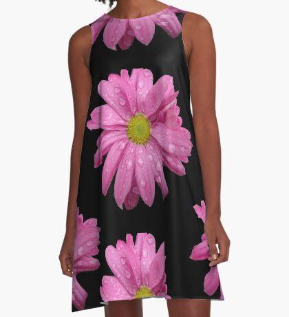 wunderschöne, pinke Blüte mit Regentropfen, pink, Sommer A-Linien Kleid