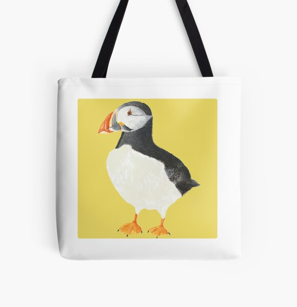 Paula Puffin (Yellow) All Over Print Tote Bag