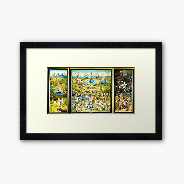 HD The Garden of Earthly Delights -FULL- by H. Bosch HIGH DEFINITION + original colors Framed Art Print