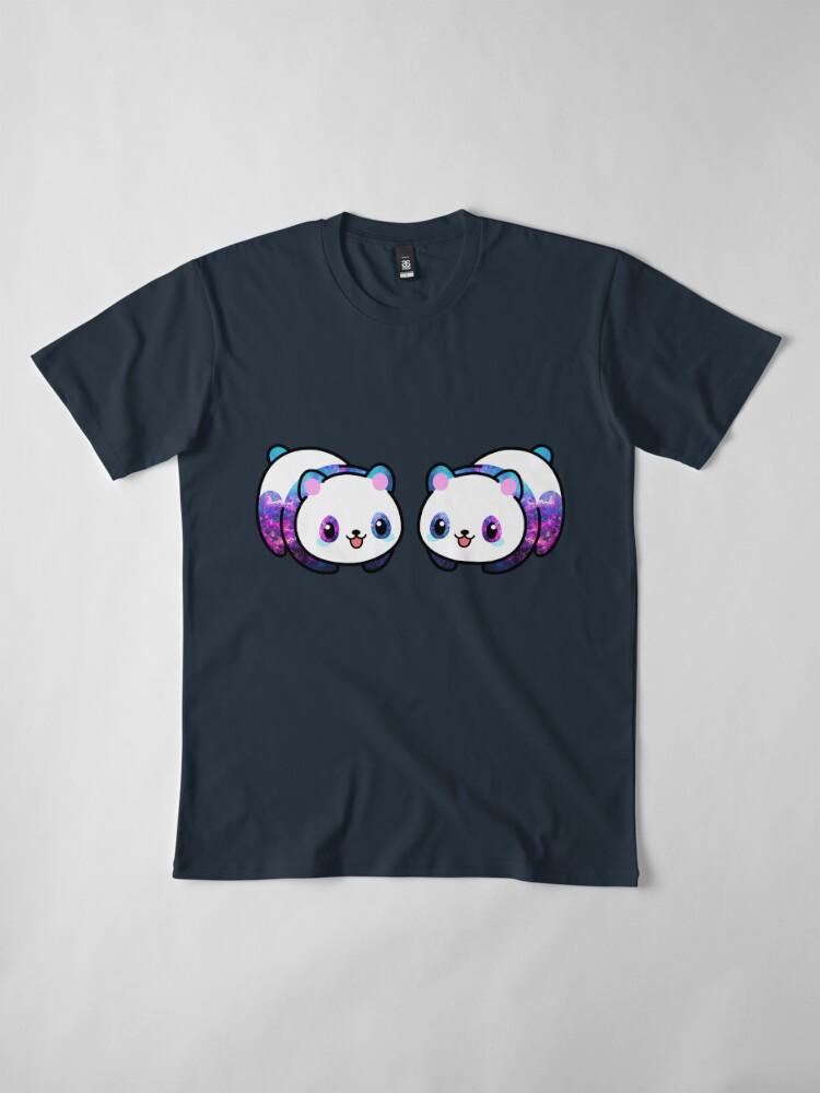 Vista alternativa de Camiseta premium Patrón Kawaii Galactic Mighty Panda