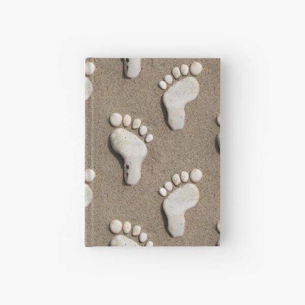 Stone footprints in the sand Hardcover Journal