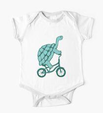 Schildkröte auf Fahrrad Baby Body Kurzarm