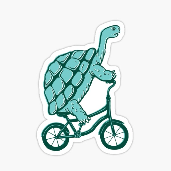 Tortue à vélo Sticker