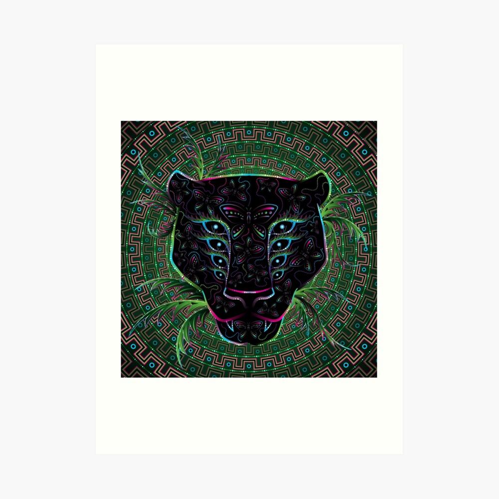 Psychedelic Ayahuasca Black Jaguar Spirit Shaman Animal Art Print
