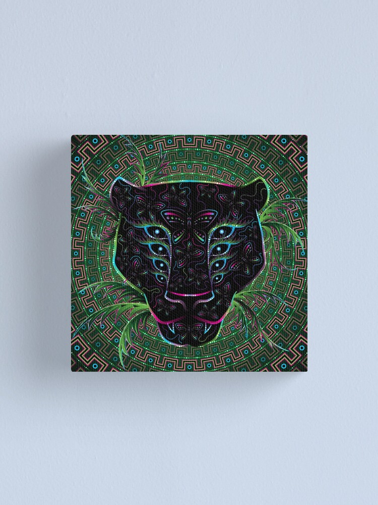Psychedelic Ayahuasca Black Jaguar Spirit Shaman Animal Canvas Print By Grebenru Redbubble