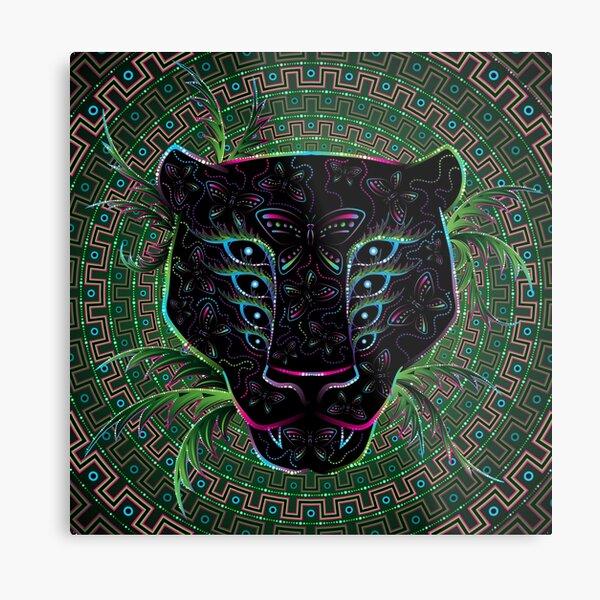 Psychedelic Ayahuasca Black Jaguar Spirit Shaman Animal Metal Print