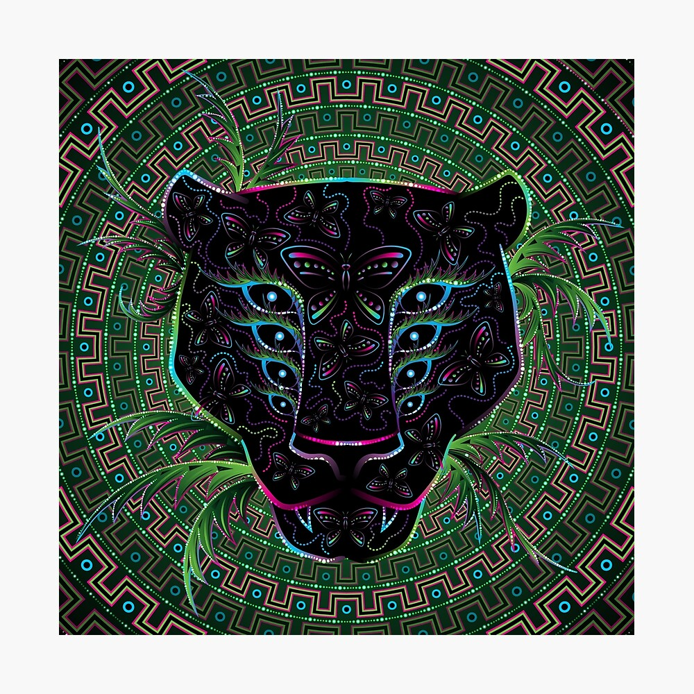 Psychedelic Ayahuasca Black Jaguar Spirit Shaman Animal Photographic Print