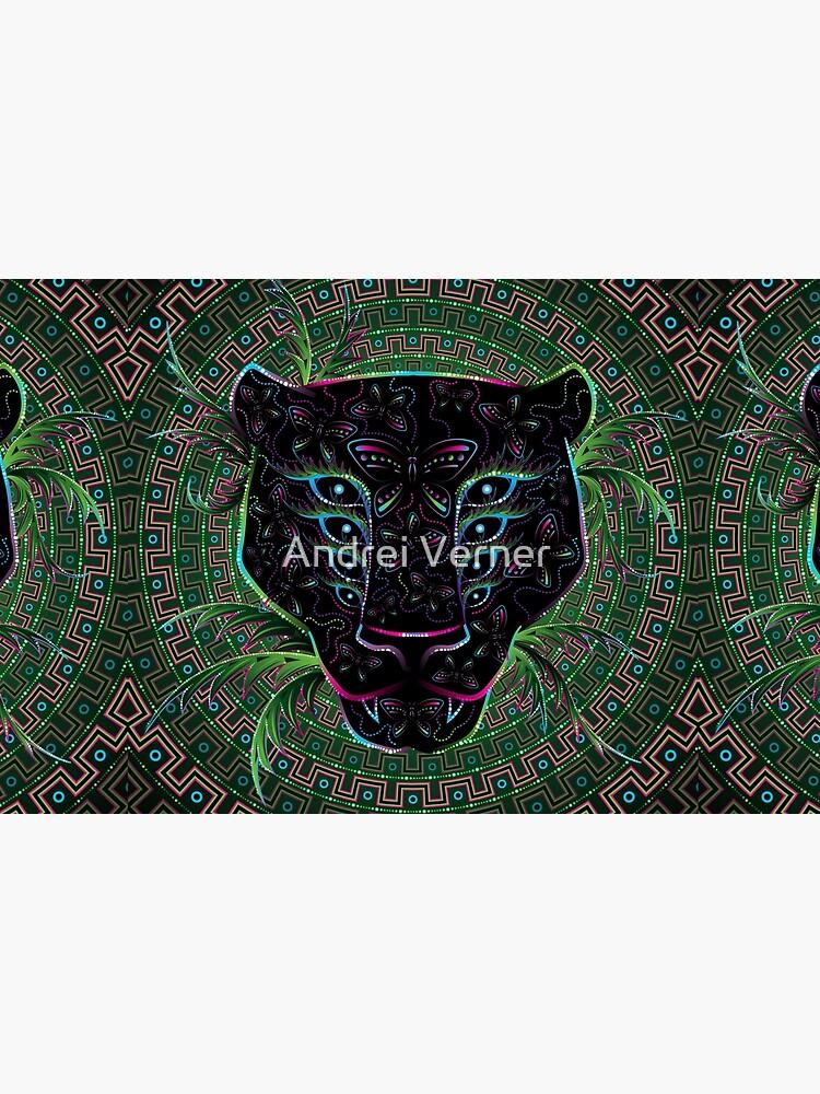 Psychedelic Ayahuasca Black Jaguar Spirit Shaman Animal by grebenru