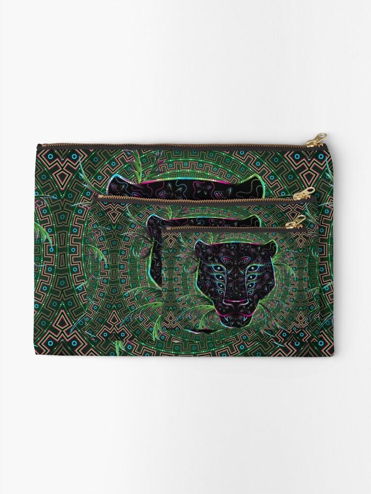Alternate view of Psychedelic Ayahuasca Black Jaguar Spirit Shaman Animal Zipper Pouch