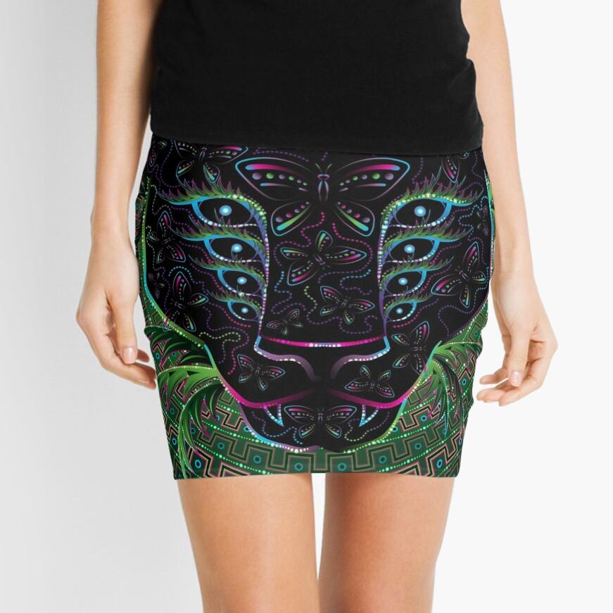 Psychedelic Ayahuasca Black Jaguar Spirit Shaman Animal Mini Skirt
