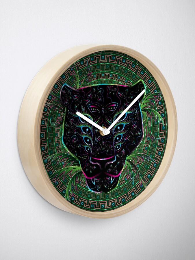 Alternate view of Psychedelic Ayahuasca Black Jaguar Spirit Shaman Animal Clock