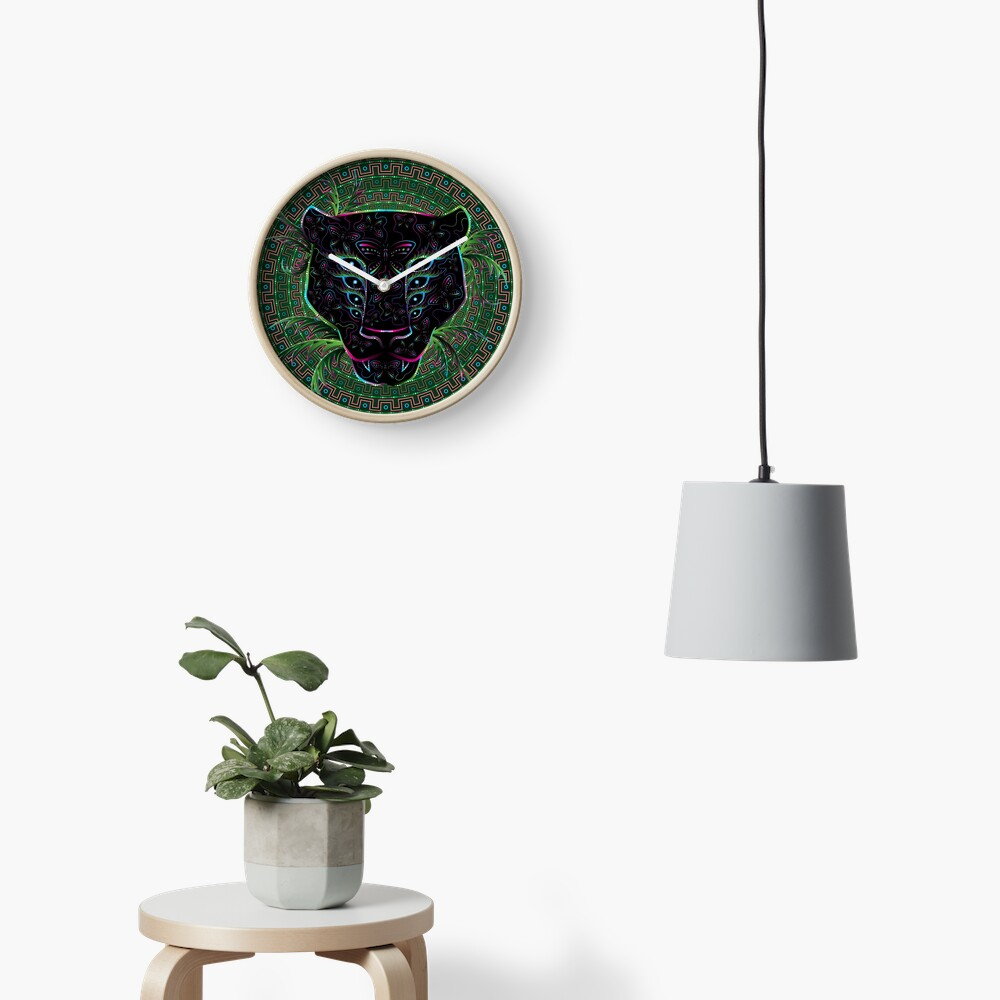 Psychedelic Ayahuasca Black Jaguar Spirit Shaman Animal Clock
