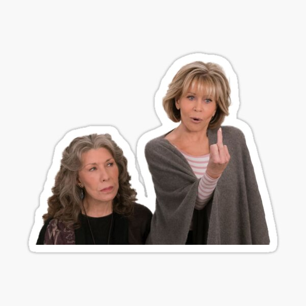 Grace and Frankie Middle Finger Sticker