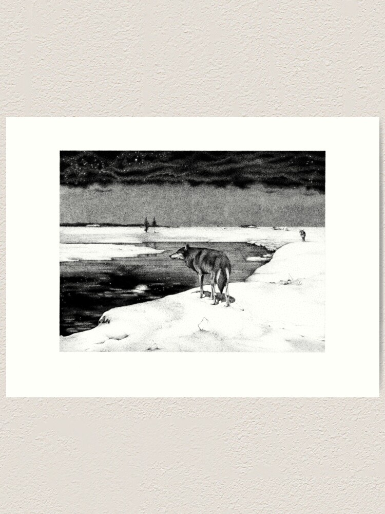Reproduction Of Polish Xix Century Painter Alfred Wierusz Kowalski Wolfs In The Night Art Print