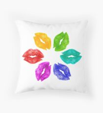 Color Kisses Throw Pillow