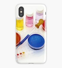 lab tools, products and chemicals on white background iPhone Case