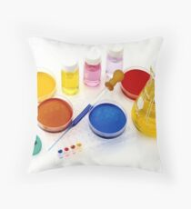 lab tools, products and chemicals on white background Throw Pillow