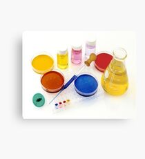 lab tools, products and chemicals on white background Metal Print