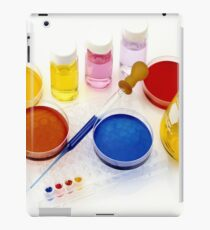 lab tools, products and chemicals on white background iPad Case/Skin