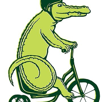 Crocodile on bike  by amelielegault