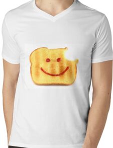 Bread with Happy Face Mens V-Neck T-Shirt