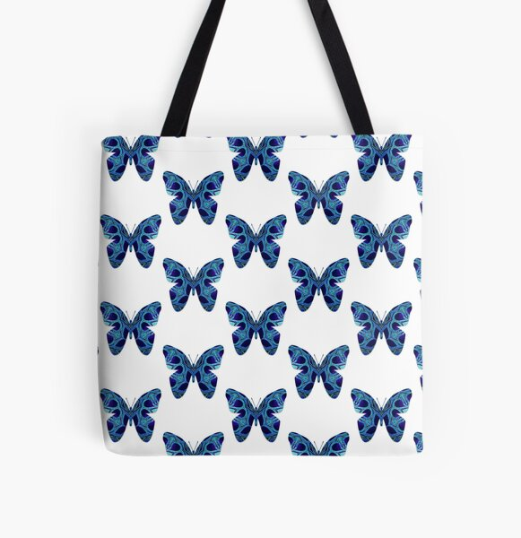 Blue Butterfly All Over Print Tote Bag