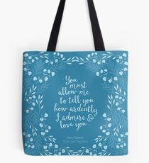 Jane Austen Pride and Prejudice Floral Love Quote Tote Bag
