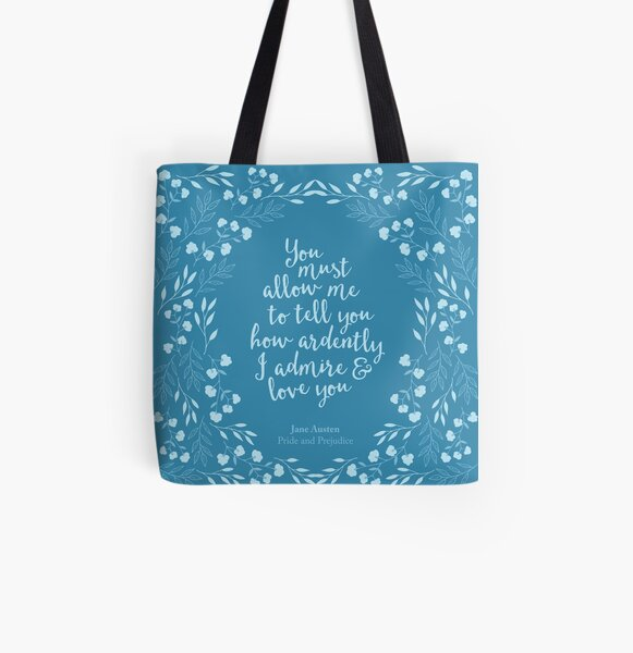 Jane Austen Pride and Prejudice Floral Love Quote All Over Print Tote Bag