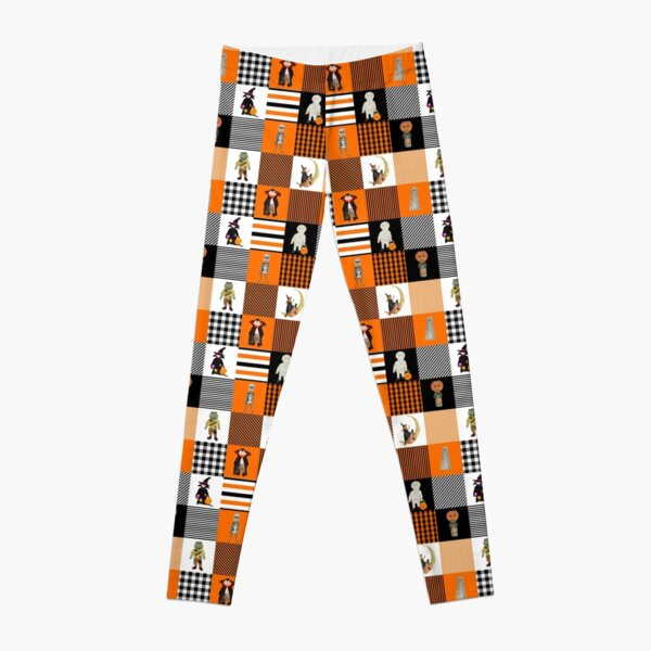 Witches, Monsters and Ghosts Halloween Orange and Black Patchwork Quilt Squares Leggings