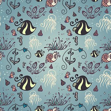 Seamless Pattern with Ocean Flora and Fauna by lissantee