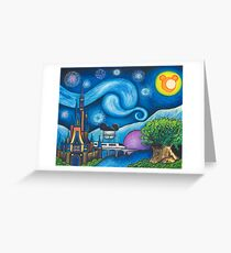 Starry Night Over the World Greeting Card