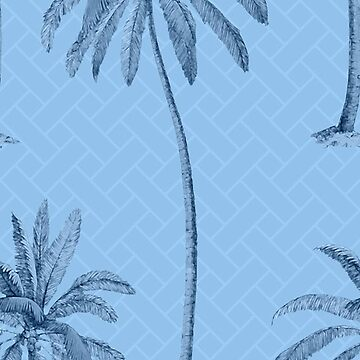 Blue Palm Trees on Pattern by Lauriepysz