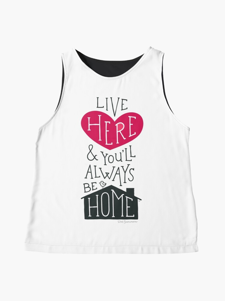 Alternate view of Live Here & You'll Always Be Home (Red) Sleeveless Top