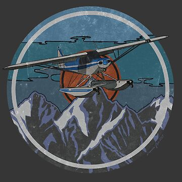 Piper Cub floatplane Retro Mountain's Design by RealPilotDesign