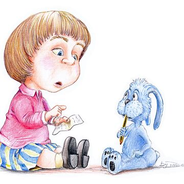 The rabbit lesson with watercolor pencil by Bydora