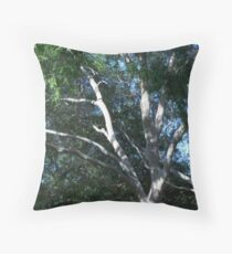 Pale Tree With Green Leaves Framing the Sky Throw Pillow